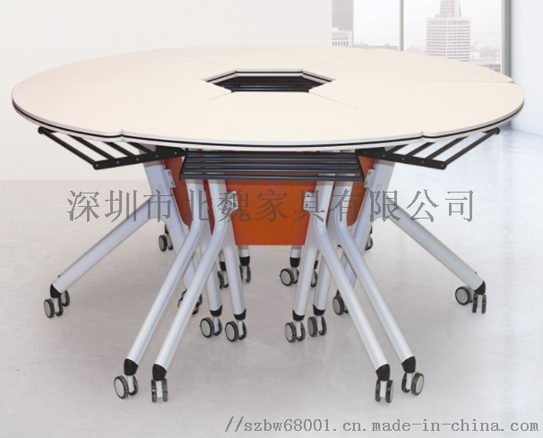 广东PXZ学校梯形拼接六边形创意带轮培训桌椅881397095