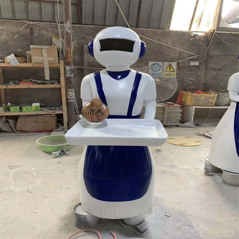厂家定制机器人外壳雕塑佛山送菜玻璃钢机器人雕塑模型873354775