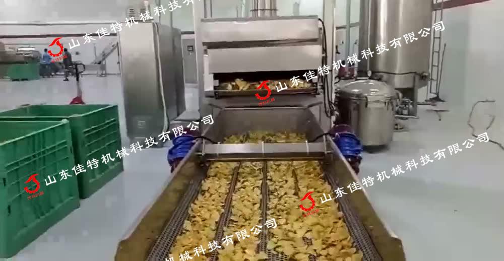 网带式薯片油炸机,安徽全自动油炸流水线88890892