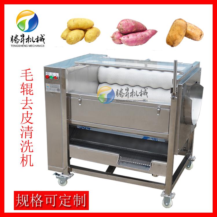 大姜清洗機 木薯土豆脫皮機 毛輥清洗去皮機廠家793562375