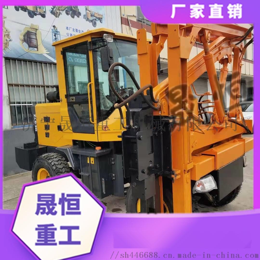 高速公路波形防护栏打桩机 液压装载机铲车改装898238825