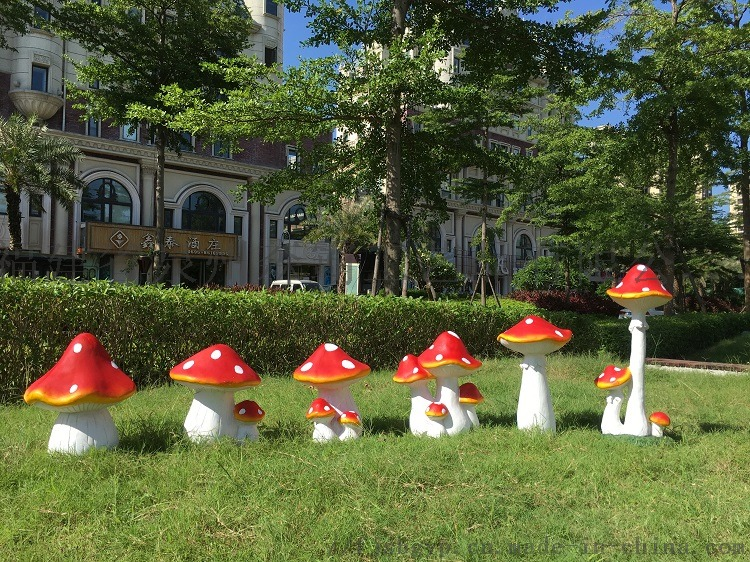 树脂工艺品花园庭院草地摆件 卡通仿真大蘑菇摆件85578315