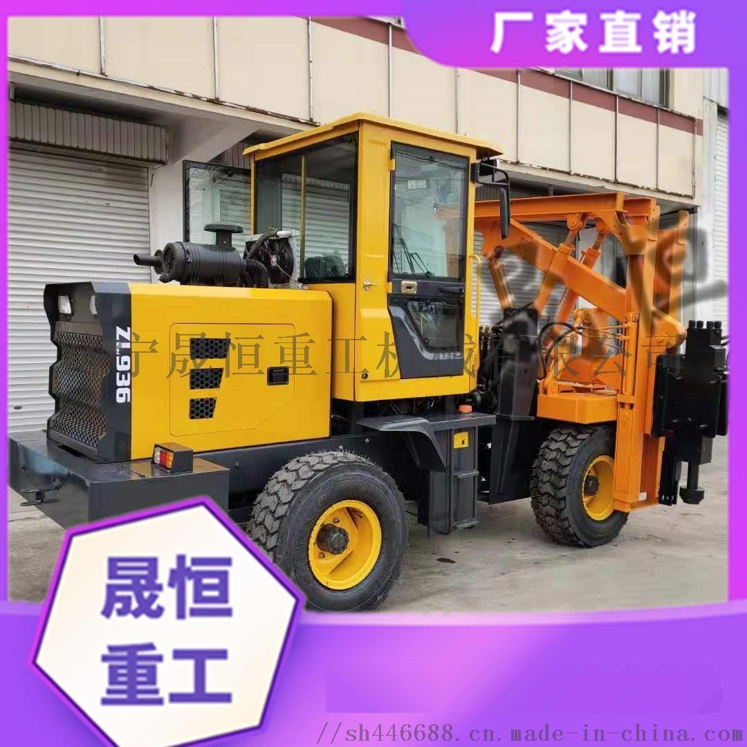 高速公路波形防护栏打桩机 液压装载机铲车改装898238805