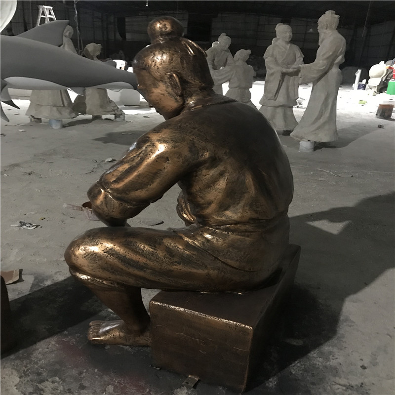 佛山玻璃钢人群雕塑 购物广场玻璃钢仿铜人物雕塑898785245