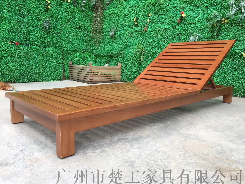 供应海边沙滩木质躺床组合 酒店游泳池实木折叠躺床145180205