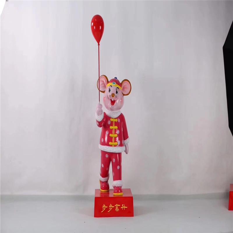 定製鼠年吉祥物雕塑佛山玻璃鋼卡通鼠雕塑127424375