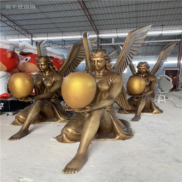 甘肃楼盘景观天使人物雕塑 玻璃钢胜利女神雕塑155580885