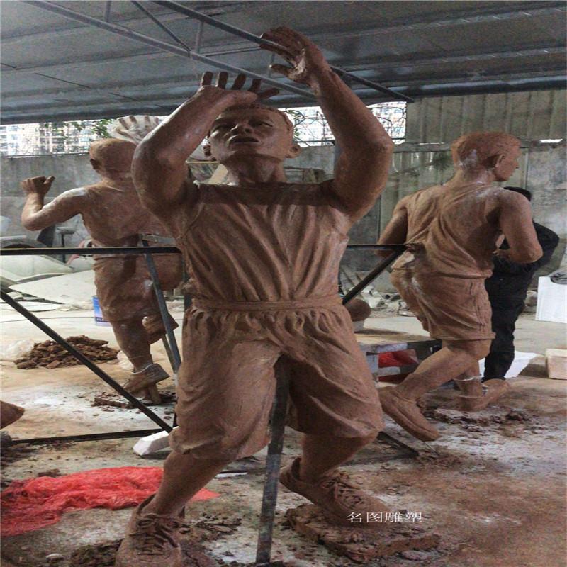 玻璃钢打篮球人物雕塑校园广场仿铜人物雕塑133446765
