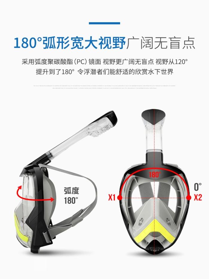 爆款全干式折叠呼吸管浮潜面罩 全脸防雾潜水面罩套装102416615