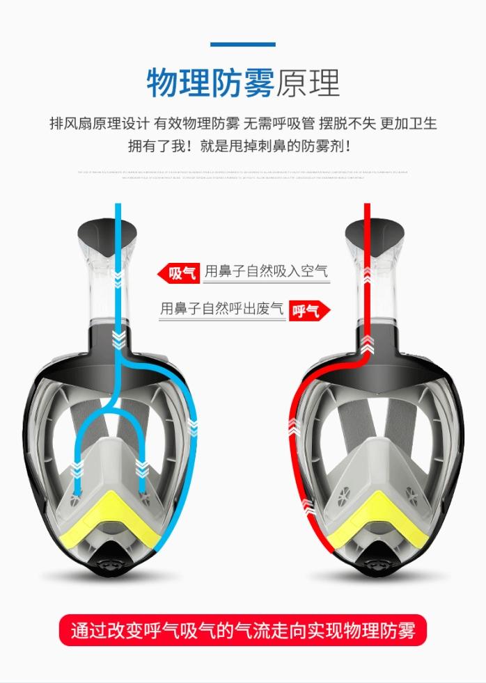 爆款全干式折叠呼吸管浮潜面罩 全脸防雾潜水面罩套装102416635