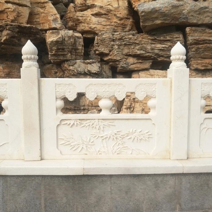 石雕栏杆制作厂家-梅兰竹菊浮雕草白玉石栏杆批发107730012