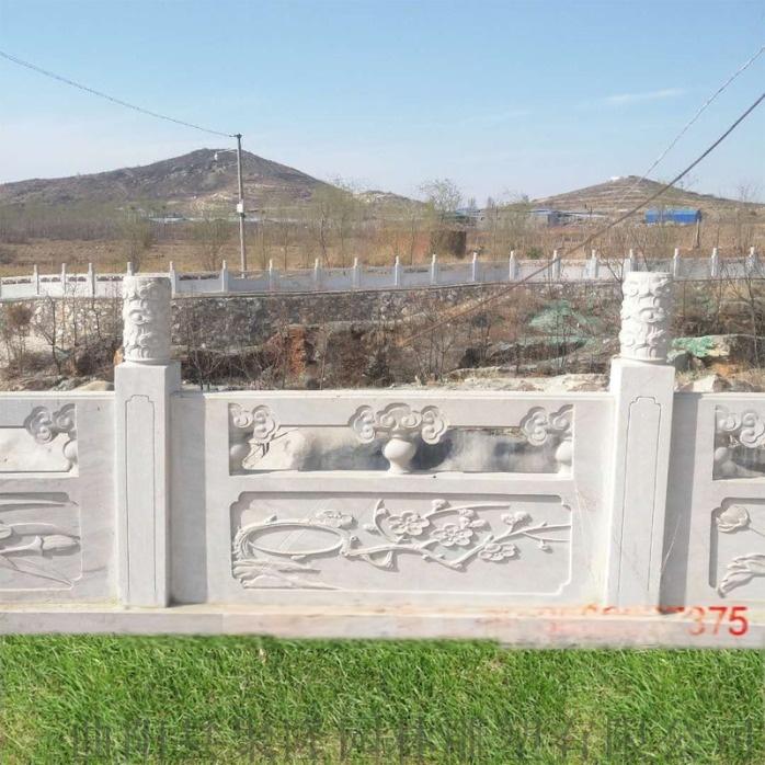 石雕栏杆制作厂家-梅兰竹菊浮雕草白玉石栏杆批发107728962