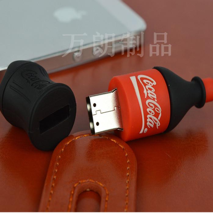 廠家定製可樂瓶子U盤套 pvc軟膠定製U盤26412005