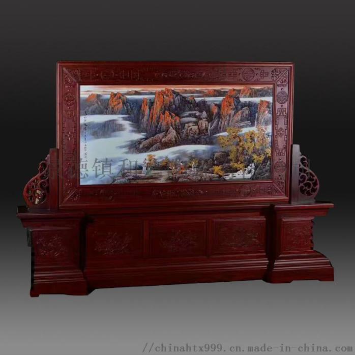 装饰壁画玄关挂画 手绘山水瓷板画 陶瓷壁画855879185