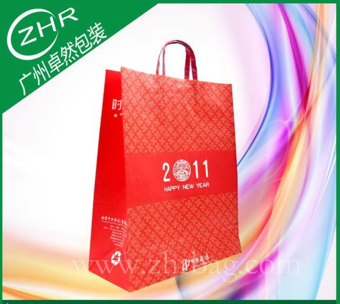 专业定制手提白牛皮纸袋 四色印刷 电商包装袋38598092