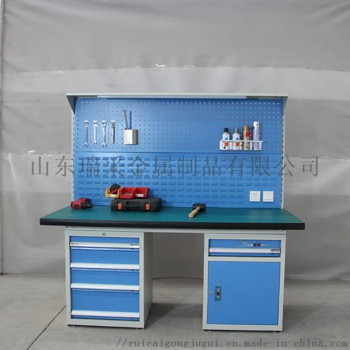 HDA15141 左边四抽屉工具柜右边一抽单开门 防静电工作桌 白底.JPG