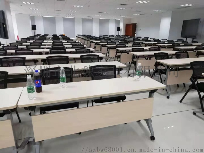 广东PXZ学校梯形拼接六边形创意带轮培训桌椅881397085