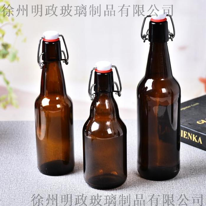 工厂330ml500ml玻璃棕色啤酒瓶卡扣乐扣瓶126139235