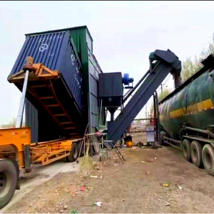 江苏船运集装箱粉煤灰倒料卸车机全自动翻箱卸灰设备137758632