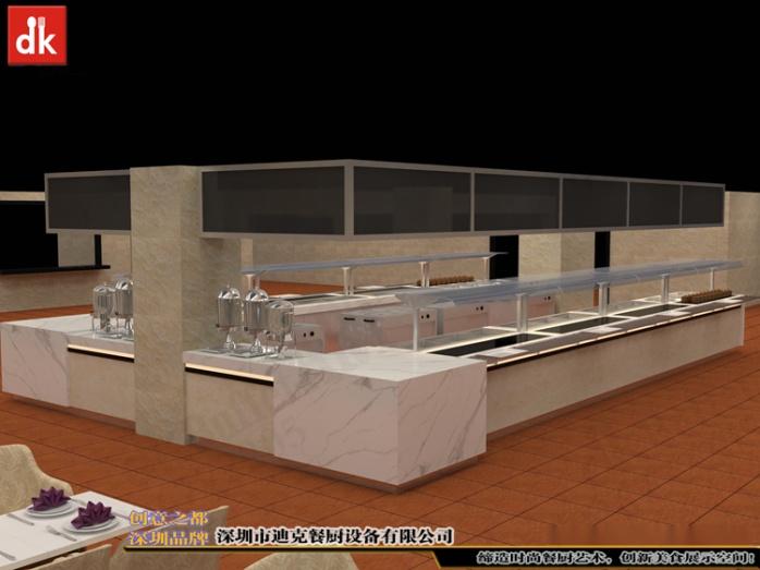 自助餐厅餐台、机关单位餐厅自助餐线取餐台 自助餐台设备 广州市政府餐厅 自助餐线取餐台 带玻璃罩布菲台 (1).jpg