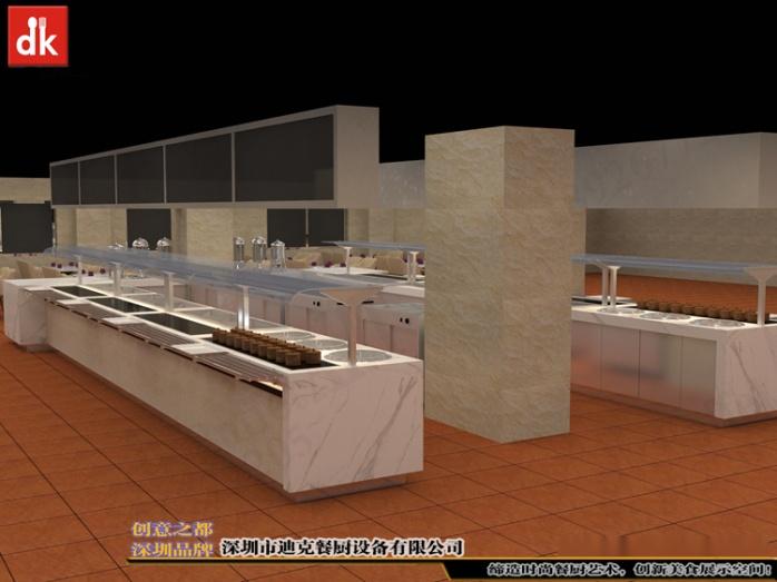 自助餐厅餐台、机关单位餐厅自助餐线取餐台 自助餐台设备 广州市政府餐厅 自助餐线取餐台 带玻璃罩布菲台 (2).jpg