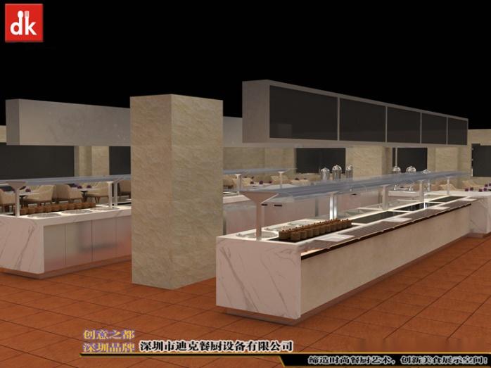 自助餐厅餐台、机关单位餐厅自助餐线取餐台 自助餐台设备 广州市政府餐厅 自助餐线取餐台 带玻璃罩布菲台 (3).jpg