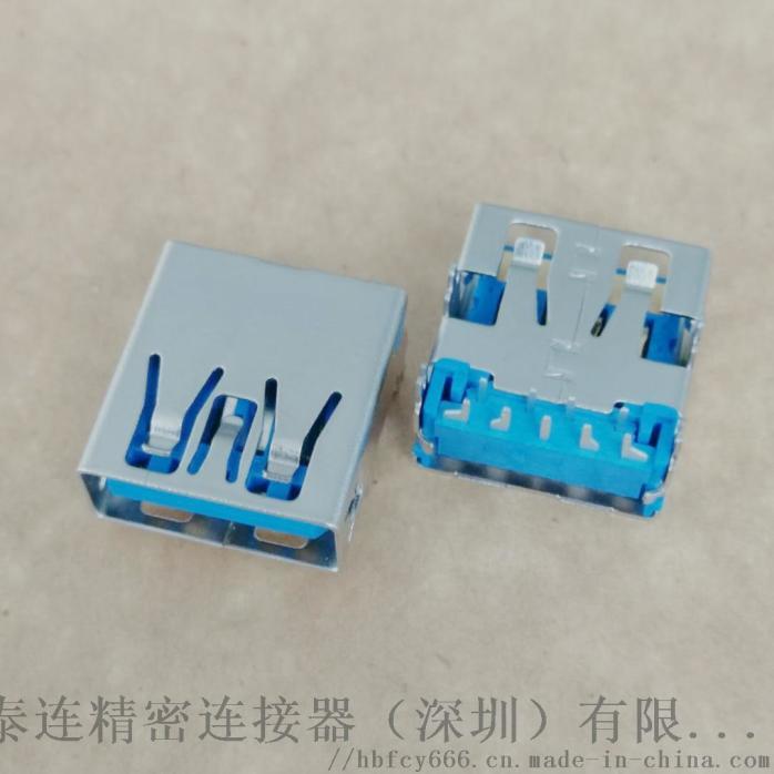 USB 3.0板上型母座 9P 四脚插板 90度DIP 直边 蓝胶 铜壳 鱼叉脚(1).jpg