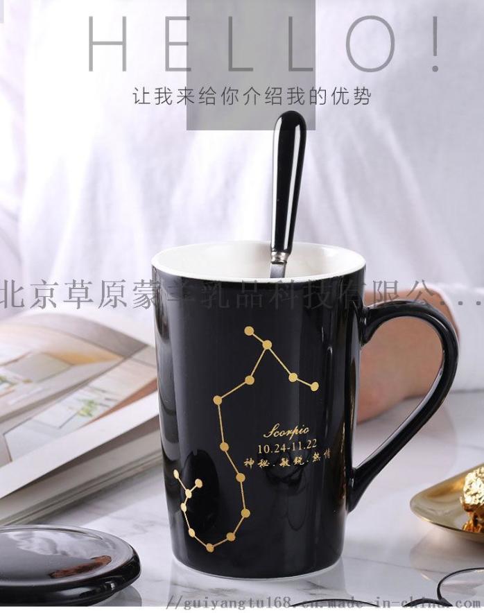 陶瓷马克杯带盖勺个性潮流喝水杯家用咖啡杯男女茶杯946350295