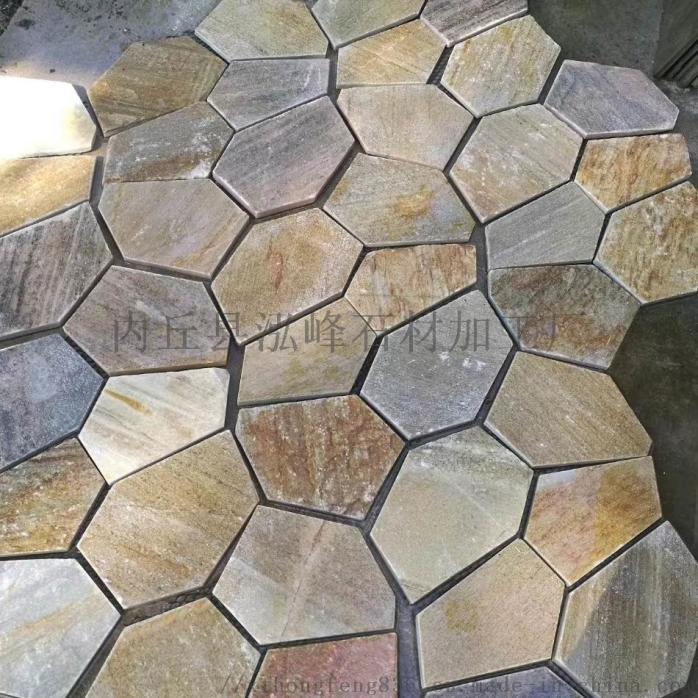 黄木纹板岩碎拼石 网贴 各种品质级别的冰裂纹63491692