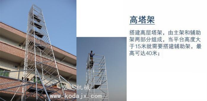 移动式铝合金脚手架厂家,空达铝制高空工作架4米67258602