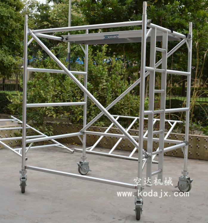 移动式铝合金脚手架厂家,空达铝制高空工作架4米773781232