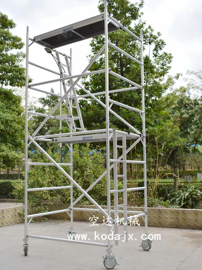 移动式铝合金脚手架厂家,空达铝制高空工作架4米67258502