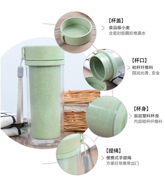 广告隔热双层塑料随身提绳麦香杯定做logo76906862