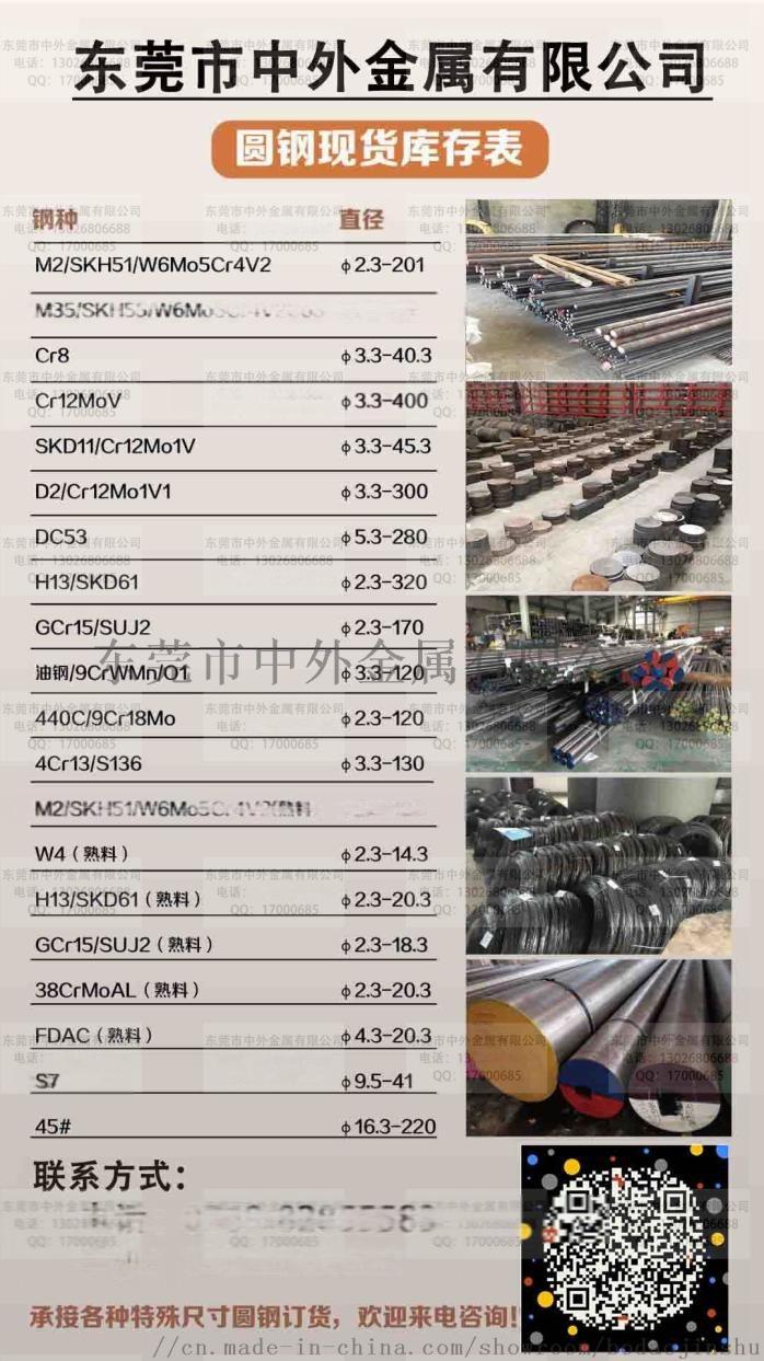 中外品牌SKH9高速钢板SKH-9圆钢棒热处理85067045
