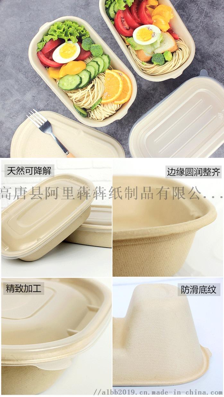 一次性紙漿環保可降解餐盒輕食沙拉盒瘦身餐盒外賣快餐盒98748322