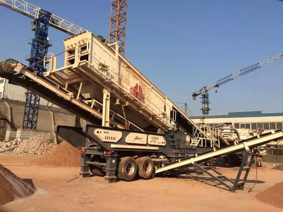 济南石子移动碎石机 轮胎式移动破碎站生产线86635832