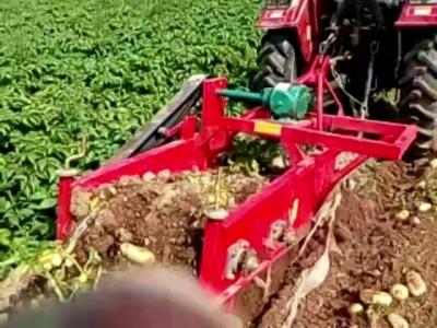 拖拉机带动红薯收货机