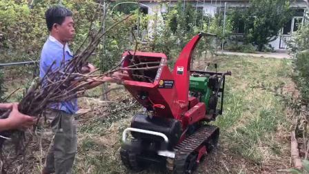 履帶自走式柴油果園樹枝樹葉修剪粉碎機