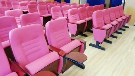 豪华实木油漆板固定脚可移动礼堂椅
