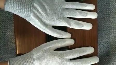 13針尼龍PU塗掌防靜電無塵工作手套打包手套