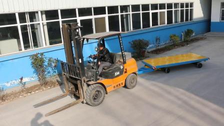 百特智能叉车牵引平板拖车视频