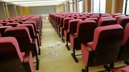 订制学校机关固定脚可移动实木油漆礼堂椅