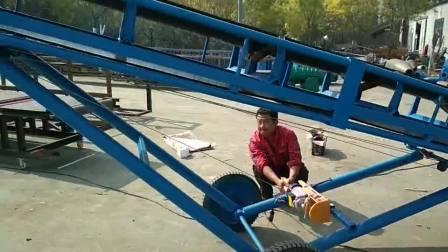 可調高玉米袋輸送機 貨物補倉用移動式皮帶機qc