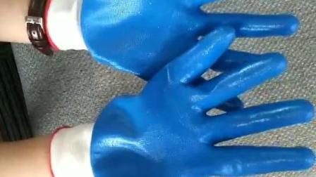 13针涤纶耐油丁腈手套劳保耐磨手套带胶蓝色